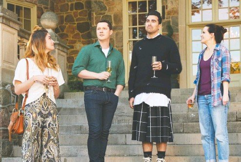 ?? CBC ?? Actors Annie Murphy, from left, Noah Reid, Daniel Levy and Emily Hampshire helped tie up the series finale of Schitt's Creek with a happy bow.