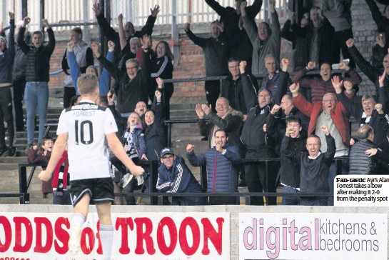 ??  ?? Fan- tastic Ayr's Alan Forrest takes a bow after making it 2- 0 from the penalty spot