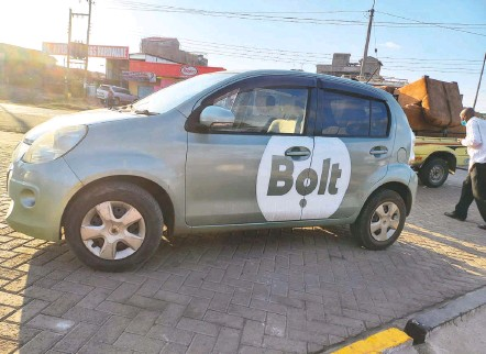 ?? RAEL OMBUOR ?? A Bolt car in Ngong Town, Kenya, on Saturday. Bolt, based in Estonia, said that it tries to match the price of a women-only ride with that of a standard ride, although a spokesman acknowledged that the actual cost varies according to demand and driver availability.