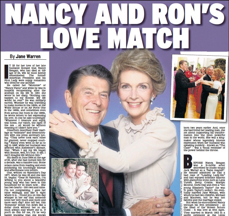 ??  ?? INSEPARABLE: The Reagans in 1952, left, and 1981, above. Ronald cuts in to Nancy's dance with Sinatra, top