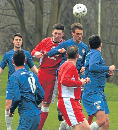 ?? Pictures: John Stevenson. ?? Above and below: Action from Lochee United v Downfield in the GA Engineering Cup on Saturday. The Bluebells won the match at Thomson Park 3-1and will face Deveronvale in the semis.