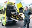 ?? PHOTO: KERRIE WATERWORTH ?? New addition to the fleet . . . St John ambulance officer Zac Armstrong at the rear of the first response unit which will be used by St John volunteers.