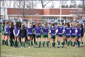 ?? BY KYLE ADAMS KADAMS@SARATOGIAN.COM @KASPORTSNEWS ON TWITTER ?? The Shenendehowa girl's soccer team met mid-field on Saturday November 21, 2020 after their Suburban Council championship game against Shaker was cancelled.
