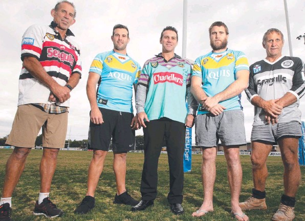 ??  ?? TIME TO REMINISCE: The Gold Coast Titans are having an Old Boys get-together for their final home game against St George Illawarra. Peter Gill, Anthony Laffranchi, Scott Sattler, Ryan Simpkins and Robert Simpkins will be at Cbus Super Stadium today....