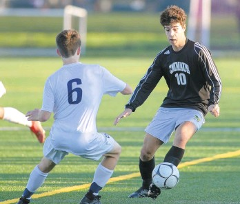 ?? MORNING CALL DOUGLAS KILPATRICK/SPECIALTOTHE ?? Emmaus's Patrick Walsh, 10, drives the ball downfield against LaSalle College High School during their PIAA 4A first-round soccer 3-2 win at Emmaus High School on Saturday.