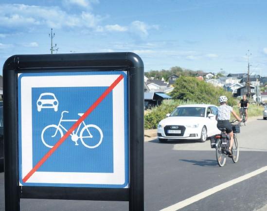 ?? Annika Karlbom ?? En del av Tångkörarvägen, som går längs Apelvikens strand, har blivit en så kallad cykelgata. Det har skapat förvirring bland cyklisterna.bild: