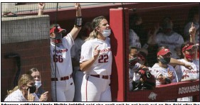 """?? (NWA Democrat-Gazette/Charlie Kaijo) ?? Arkansas outfielder Linnie Malkin (middle) said she can't wait to get back out on the field after the Razorbacks' lost 2 of 3 to Alabama last weekend. """"If anything, we're more prepared this weekend and ready to take out, I guess, built-up frustrations from this [past] weekend out."""""""