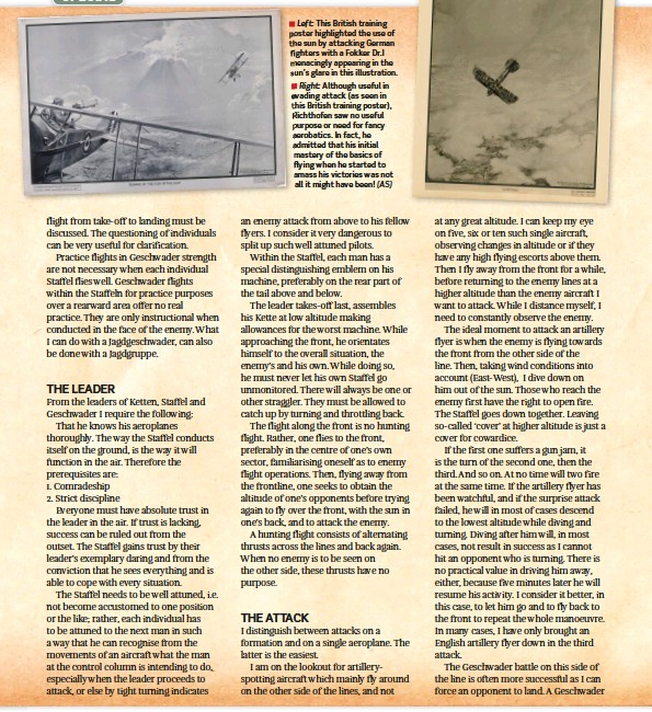 ??  ?? ■ Left: This British training poster highlighte­d the use of the sun by attacking German fighters with a Fokker DR.I menacingly appearing in the sun's glare in this illustrati­on.