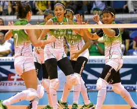?? —AUGUST DELA CRUZ ?? The Lady Spikers celebrate yet another championship appearance in the UAAP.