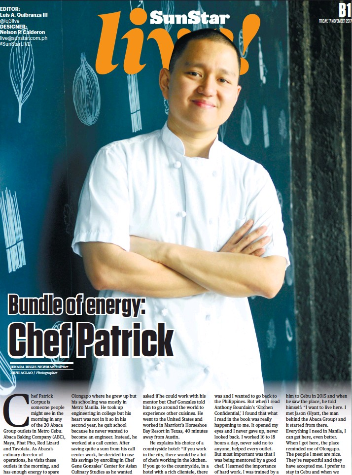 Pressreader Sun Star Cebu 2017 11 17 Chef Patrick Keeps Tab On