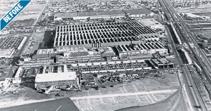 ??  ?? INDUSTRIAL: The Lockheed aircraft plant in Burbank was unmistakab­ly a factory before the camouflage in 1942