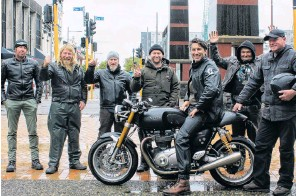 ?? PHOTO: LUISA GIRAO ?? Staying safe . . . Motorcyclists (from left) John Dyksma, Dan Lane, Brett Ripley, Owen Ripley, Deane Briggs, James Crint and Brent Steegh had a beer to cope with the cancellation of Burt Munro's Hill Climb race yesterday.