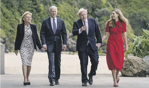 ?? PHOTOGRAPH: PATRICK SEMANSKY/AP ?? ▲ 'A breath of fresh air': Joe and Jill Biden in Carbis Bay with Boris and Carrie Johnson before the summit