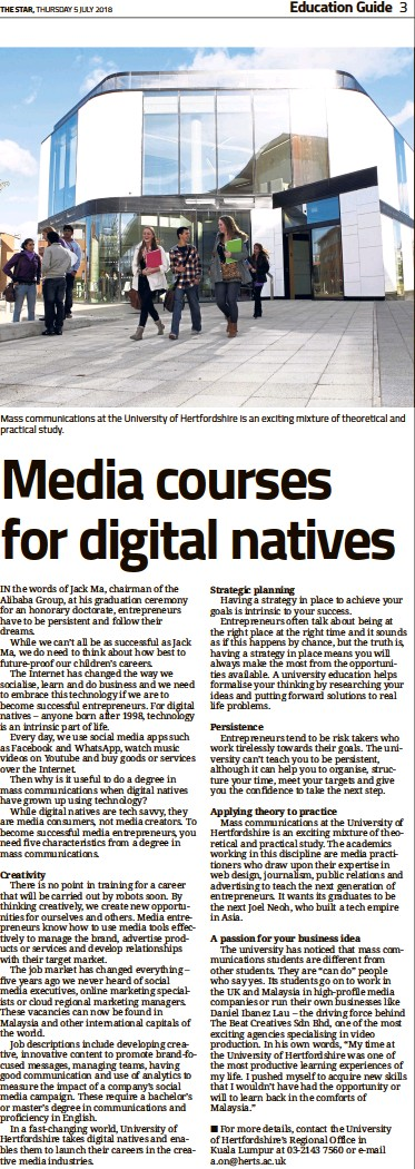 ??  ?? Mass communications at the University of Hertfordshire is an exciting mixture of theoretical and practical study.