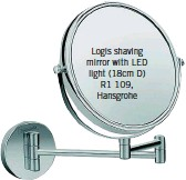 ??  ?? Logis shaving mirror with LED light (18cm D) R1 109, Hansgrohe
