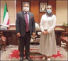 ??  ?? The Indian ambassador with Engr Kholoud Al-Shahab.