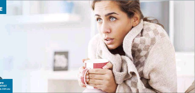 ??  ?? ◆ MORE THAN MEETS THE EYE: If we imagine this woman is experiencing the symptoms of a cold on a brisk winter morning, her body is currently engaing a great many senses including nociception, stretch receptors, thermoception, and perhaps thirst and hunger.