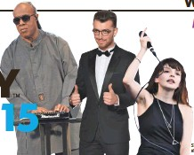 ?? BY GETTY IMAGES; SAM SMITH BY WIREIMAGE ?? STEVIE WONDER AND LAUREN MAYBERRY