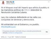 ??  ?? Tuit. La diputada Nidia Díaz pidió el fin del bloqueo comercial hacia Cuba.