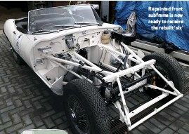 ??  ?? Repainted front subframe is now ready to receive the rebuilt 'six'