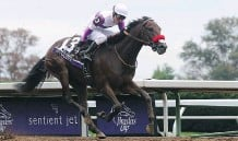 ?? DYLAN BUELL/ GETTY IMAGES ?? Mario Gutierrez has run seven races with Nyquist and won them all, securing a place in the May 7 Kentucky Derby.