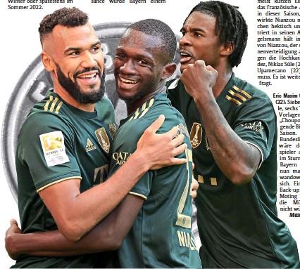 ??  ?? Zufriedene Gesichter beim 7:0-Sieg gegen Bochum (v.l.): Die Bayern-Profis Eric Maxim Choupo-Moting, Tanguy Nianzou und Omar Richards.