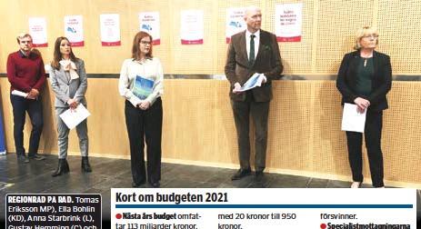 ??  ?? REGIONRÅD PÅ RAD. Tomas Eriksson MP), Ella Bohlin (KD), Anna Starbrink (L), Gustav Hemming (C) och Irene Svenonius (M) höll corona-avstånd när budgeten presenterades.