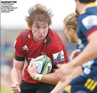 ??  ?? HARD HITTER Cullen Grace showed his potential early in Super Rugby last year.
