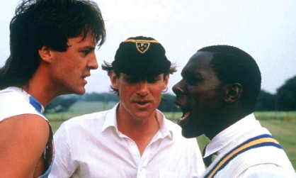 ?? Photograph: BFI ?? Neil Morrissey (left) and Gary Beadle (right) get worked up during the cricket match in HoraceOve's Playing Away.
