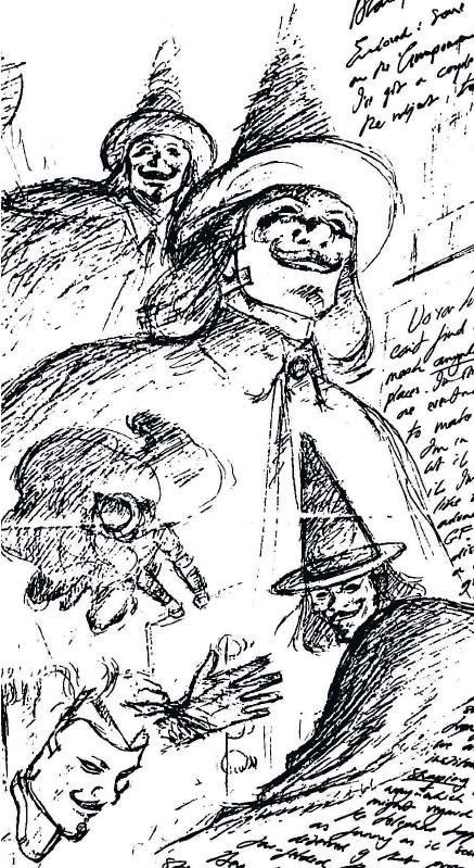 ??  ?? EARLY INCARNATION: David Lloyd's first sketches in the early 1980s of V wearing his Guy Fawkes mask and clothing, alongside the artist's handwritten notes to the graphic novel's writer Alan Moore, were displayed at the Chulalongkorn University exhibition.