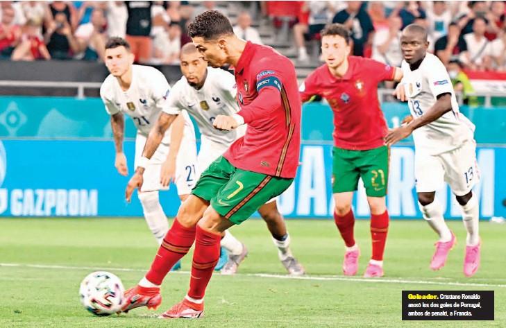 ??  ?? Goleador. Cristiano Ronaldo anotó los dos goles de Portugal, ambos de penalti, a Francia.