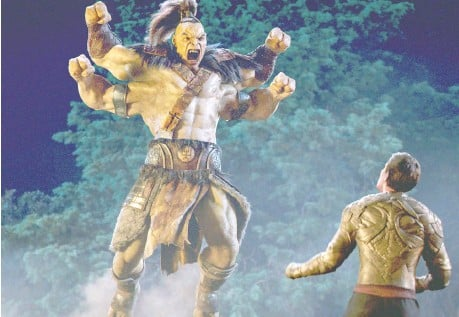 ?? PHOTOS: WARNER BROS. PICTURES ?? Goro, left and Lewis Tan in what is a typically understated encounter among people on the planet Earthrealm.