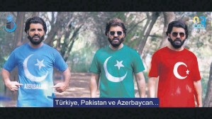 "??  ?? A still shot from ""Saltanat e Usmania"" shows Noman Shah Bukhari wearing T-shirts with the flags of Azerbaijan, Pakistan and Turkey respective­ly."