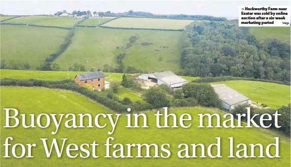 ?? Stags ?? Hackworthy Farm near Exeter was sold by online auction after a six-week marketing period