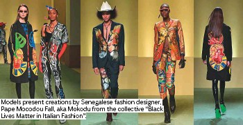 """??  ?? Models present creations by Senegalese fashion designer, Pape Mocodou Fall, aka Mokodu from the collective """"Black Lives Matter in Italian Fashion""""."""