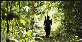 ?? Photo: AP ?? Tenetehara indigenous man Regis Tufo Moreira Tembe patrols with the Ka'azar, or Forest Owners, on the Alto Rio Guama reserve in Para state, near the city of Paragomina­s, Brazil, Tuesday, September 8.