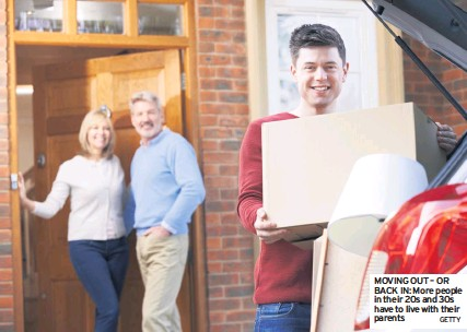?? GETTY ?? MOVING OUT – OR BACK IN: More people in their 20s and 30s have to live with their parents