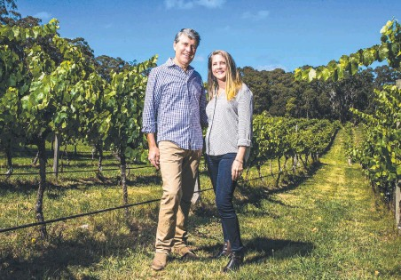 ?? Macedon AARON FRANCIS ?? Richard Price and wife Caroline Aebersold at their Rill House winery in
