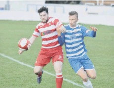 ??  ?? Ryan Blott gets on the ball during Boro's loss at Radcliffe