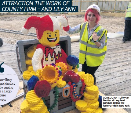 ??  ?? CONSULTANT: Lily-Ann Bedder at Legoland Windsor. Below, the factory ride in New York
