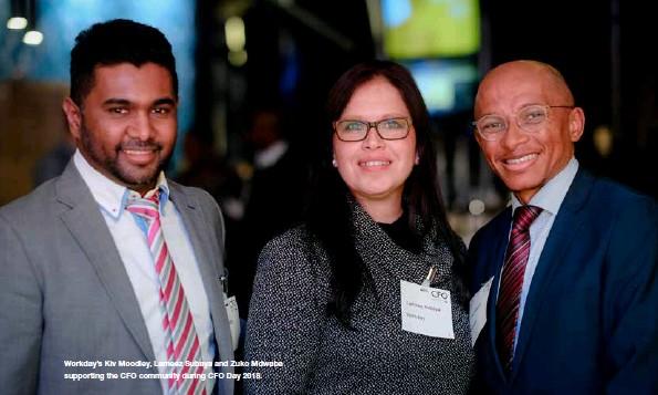 ??  ?? Workday's Kiv Moodley, Lameez Subaya and Zuko Mdwaba supporting the CFO community during CFO Day 2018.