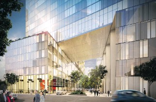 ?? ARTIST'S RENDERINGS (2): COURTESY OF LEMAY, GAZETTE FILES ?? The 200-room hotel portion of the Humaniti project hovers above the de la Gauchetière side, several storeys up in the air.