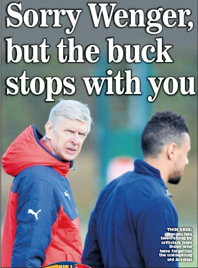?? Picture: STUART MacFARLANE ?? THIN SKIN: Wenger has been stung by criticism from those who have forgotten the uninspiring old Arsenal