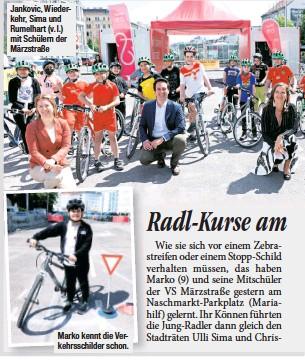 ??  ?? Jankovic, Wiederkehr, Sima und Rumelhart (v.l.) mit Schülern der Märzstraße Marko kennt die Verkehrsschilder schon.