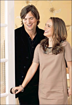 """?? By Dan MacMedan, USA TODAY ?? On her new-film soapbox: Ashton Kutcher stands tall, over 6 feet, while co-star Natalie Portman is 5-foot-3. """" You really chose to wear flats"""" to the photo shoot? Kutcher teases. """" I know!"""" she says."""