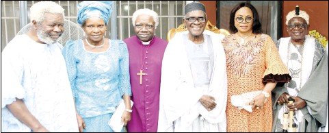 ??  ?? • L-R: The host's nephew, Prince Olusola Oduko; Wife of the retired Archbishop of The Province of Kwara and Bishop of Kwara of the Church of Nigeria (Anglican Communion) Mrs Grace Adeyemi; her husband, Most Revd Olusegun Adeyemi; Host, Prince Henry Odukomaiya; his wife, Lydia; and the Afogun Lanafade Towulade of Akinale in Owu Kingdom, Oba Olufemi Ogunleye, at the 87th birthday thanksgiving service of Odukomaiya in Lagos... on Saturday. Photo: Saheed Olugbon