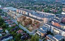 ??  ?? TRE HUSKROPPAR. Peabs planerade bostadsprojekt Brf Skimret syns i mitten på bilden. ILLUSTRATION: WEC360