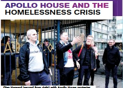 ??  ?? Glen Hansard (second from right) with Apollo House protesters