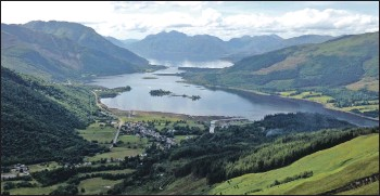 ??  ?? The proposed Allt Fhiodhan hydro development will be located just over one kilometre from Glencoe village, to the left of the photograph shown here.