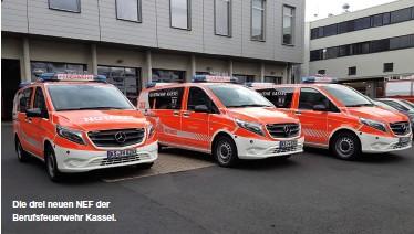 ??  ?? Die drei neuen NEF der Berufsfeuerwehr Kassel.